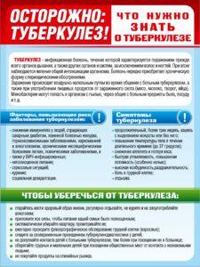 """Стенд """"Осторожно туберкулез"""" 60х40 1500 руб"""
