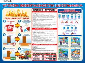 СТЕНД уголок безопасности школьника 120Х85 5400РУБ